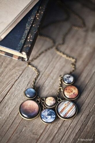jewels necklace universe planets jewelry accessory