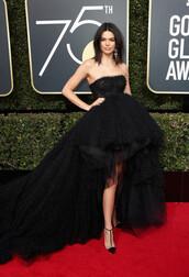 dress,high low dress,kendall jenner,kardashians,model off-duty,tulle dress,gown,prom dress,Golden Globes 2018,pumps,shoes