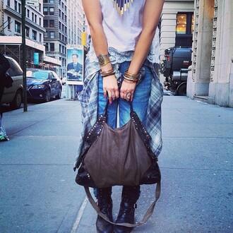 bag grey studded boho free people shoulder bag embellished worn black