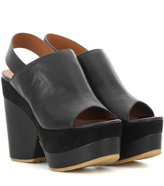 sandals platform sandals leather black shoes