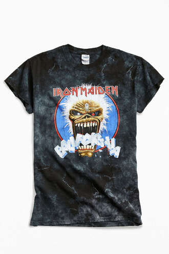 t-shirt shirt clothes top urban outfitters iron maiden band t-shirt