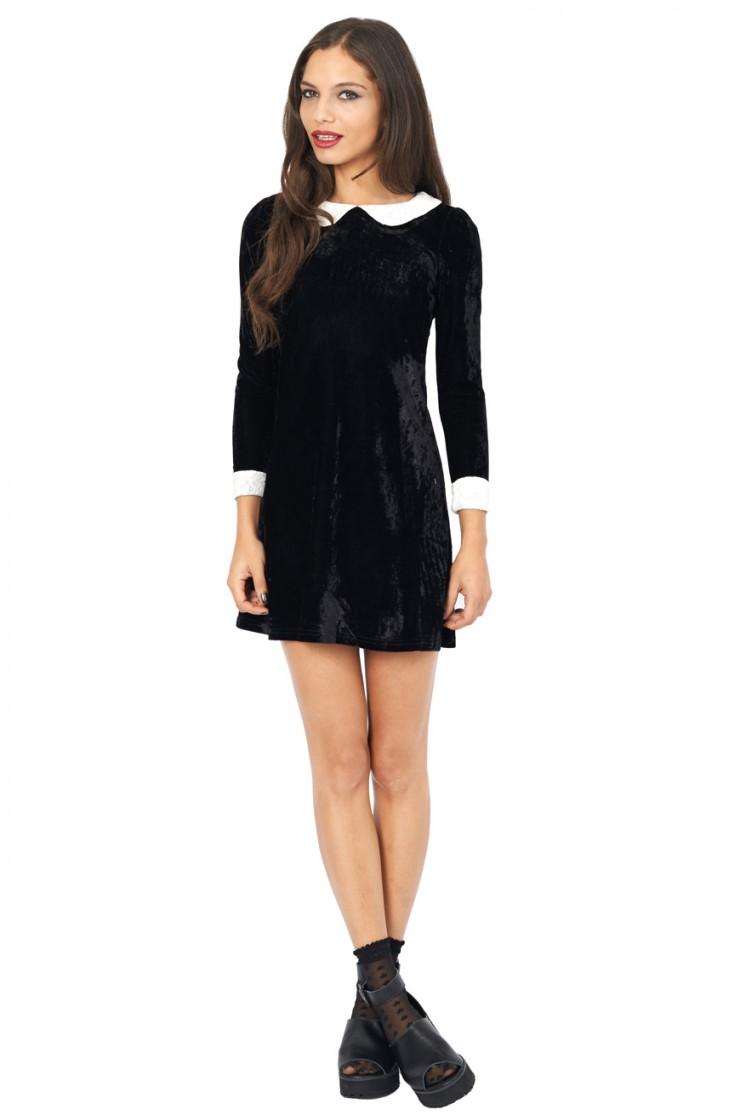 Wednesday velvet peter pan collar dress black
