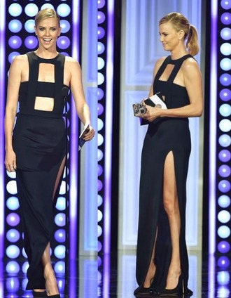 dress gown black dress slit dress charlize theron cut-out shoes