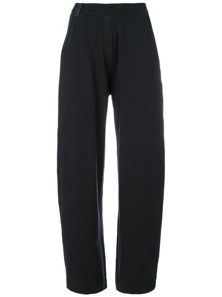 loose women spandex fit leather cotton blue pants
