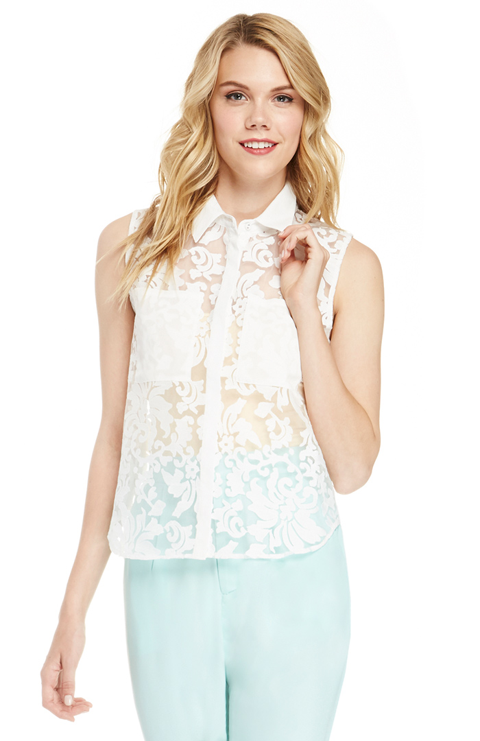 JOA Embroidered Mesh Collar Shirt in Ivory S - L | DAILYLOOK