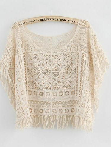 Lace hollow out tessel shirt top