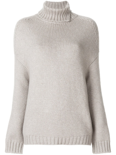 Loro Piana jumper turtleneck loose women grey sweater