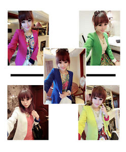 Korea Style Bright Colors Fashion Women's Slim Shrug Blazer Coat Jacket | eBay