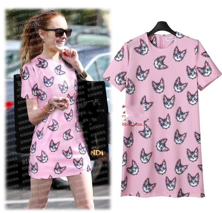 Womens Fashion Cute Cat Kitten Print Pink Crewneck Short Sleeve Mini Dress R804