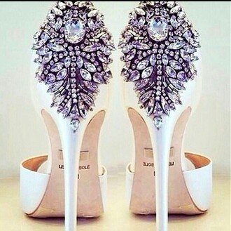 shoes white diamond heels wedding bridal