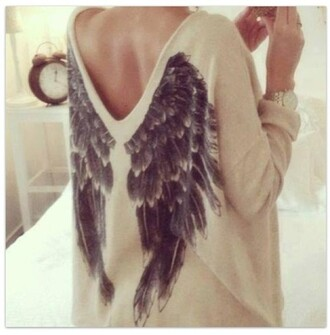 sweater sweather wings cozy grunge hipster