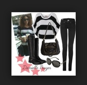 jeans,black,sweater,striped sweater,black and white,danielle peazer