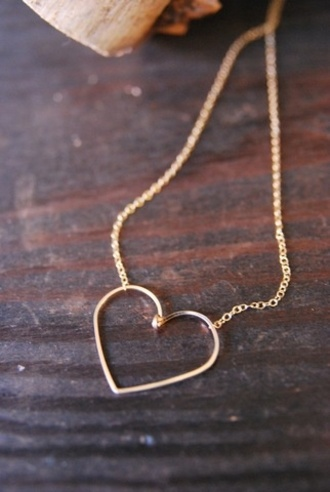 necklace jewels simple heart necklace heart gold jewelry love