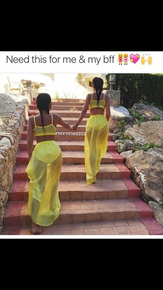skirt sheer skirt yellow skirt maxi skirt slit maxi skirt 2 piece skirt set