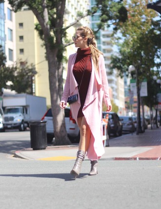 thefashionstatement blogger coat dress shoes bag sunglasses fall outfits turtleneck dress sweater dress pink coat boots