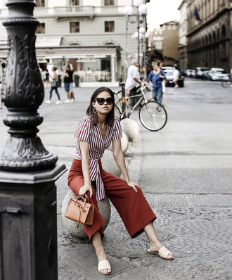pants tumblr culottes rust red pants top wrap top crop tops shoes slide shoes sunglasses bag brown bag