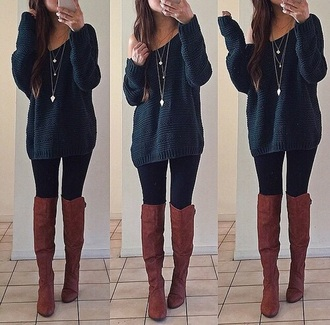 blouse blue sweater boots hipster sweater necklace leggings brunette jewels shoes