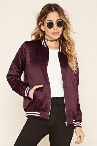 jacket bomber jacket satin silk purple burgundy forever 21