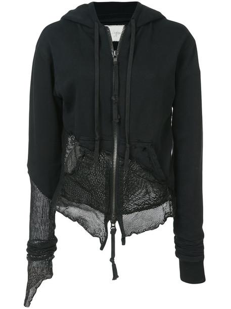 Greg Lauren hoodie women leather cotton black sweater