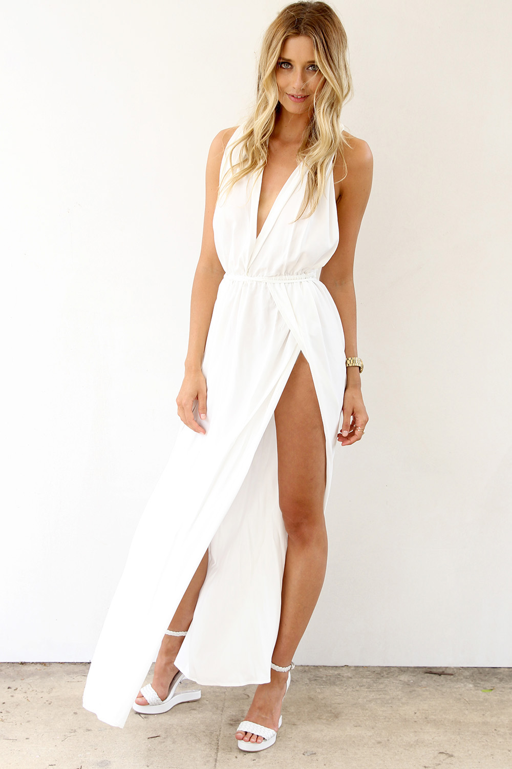 White Longer Lengths Dress White Maxi Dress With Plunge