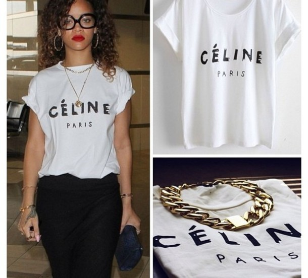 t-shirt celine women rihanna paris blouse shirt jewels