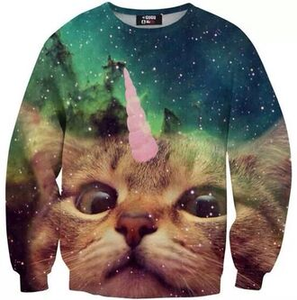 unicorn cats galaxy print printed sweater