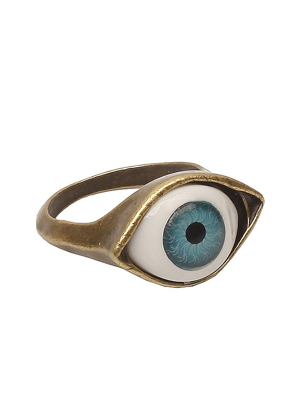 Amazon.com: lovers2009 punk style retro exaggeration blue eye ring: eyeball ring: jewelry