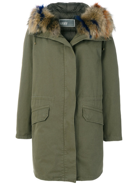 Army Yves Salomon parka women dog cotton green coat