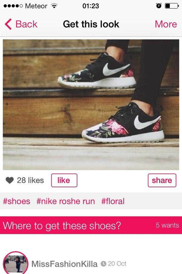Roshe Run Supremo Shoes nike roshe run flowers