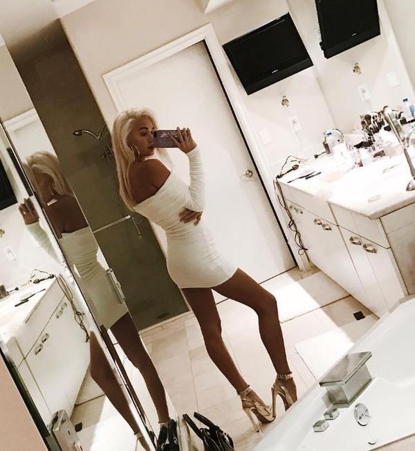 dress off the shoulder dress off the shoulder sandals instagram pia mia perez mini dress white white dress bodycon dress