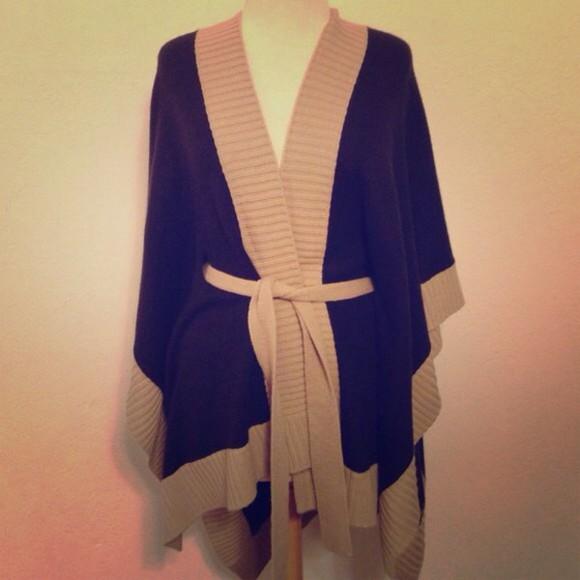 sweater wrap cardigan shawl jacket beige Cardigan poncho