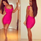 Open back bandage dress fuchsia