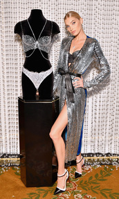 dress,sequins,sequin dress,wrap dress,elsa hosk,model,victoria's secret,victoria's secret model,silver