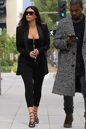 top,leggings,sandals,black,kim kardashian,shoes,sunglasses,jacket,blazer