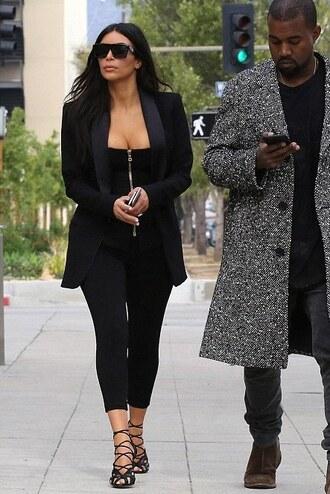 top leggings sandals black kim kardashian shoes sunglasses jacket blazer