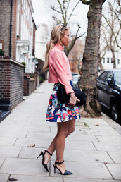 happily grey,blogger,shoes,bag,sandals,pink,print,top,skirt,coat