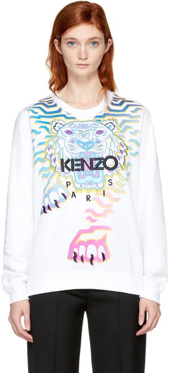sweatshirt rainbow white sweater