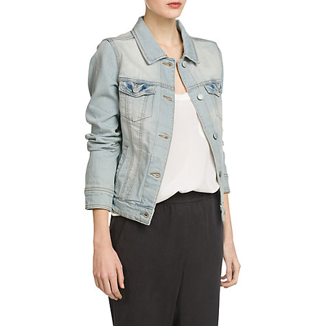 Buy Mango Bleached Denim Jacket, Light Pastel Blue online at John Lewis