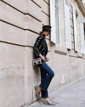 jacket,hat,tumblr,leather jacket,black leather jacket,denim,jeans,blue jeans,flare jeans,shoes,slingbacks,bag,fisherman cap