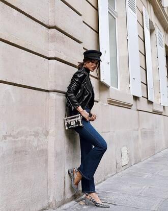 jacket hat tumblr leather jacket black leather jacket denim jeans blue jeans flare jeans shoes slingbacks bag fisherman cap