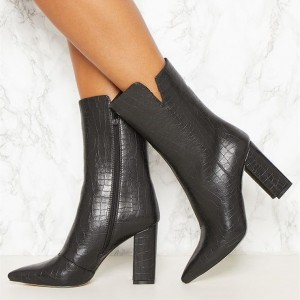 Black Textured Vegan Leather Chunky Heel Boots Pointy Toe Ankle Boots