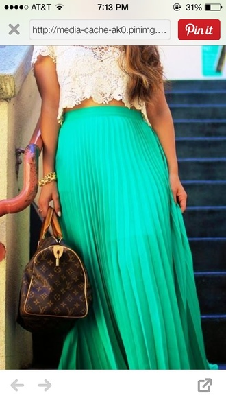 skirt blue pleated skirt crochet top