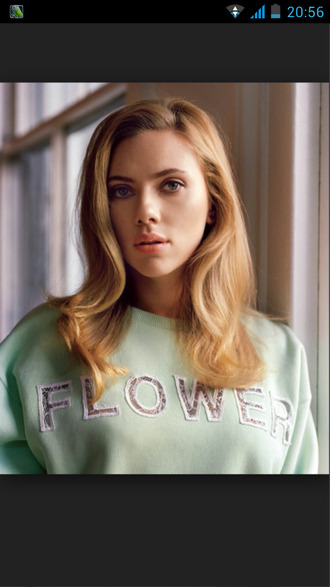 scarlett johansson green flowers writing sweater celebrity sweatshirt pastel blonde hair cute beautiful floral lace summer outfits pastel green