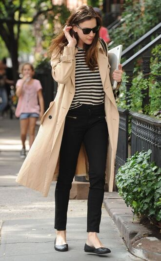 coat black ballet flats french girl style trench coat beige trench coat ballet flats black jeans striped sweater wayfarer