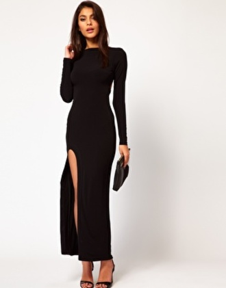 black maxi dress long sleeve dress slit dress