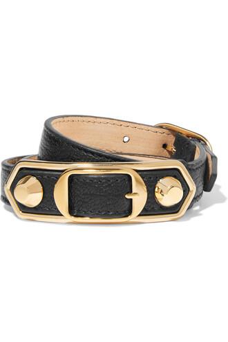 triple gold leather black jewels