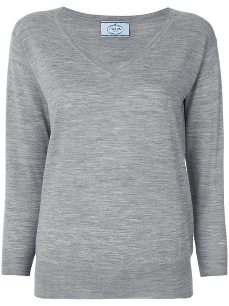 Prada sweater women wool grey