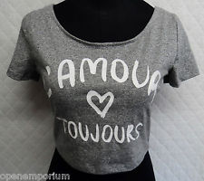 H&m l'amour toujours grey short sleeve crop top t