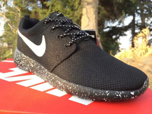 67a4e25b53f Women s Custom Nike Roshe Run - Palm Tree Oreo Black White ...