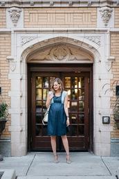 see jane,blogger,dress,shoes,bag,blue dress,midi dress,white bag,shoulder bag,maternity,maternity dress,sandals,sandal heels,high heel sandals,grey sandals